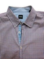 Hugo Boss Mens 2XL Regular Fit Red Blue Plaid Checked Button Front Shirt Top