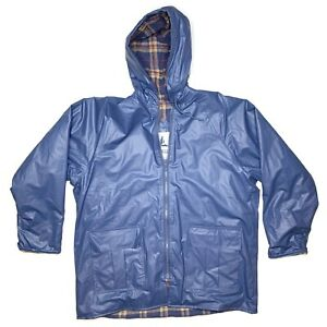 VTG Misty Harbor Sz L Blue Rain Jacket Coat Cotton Lined Inside PolyVinyl Outer