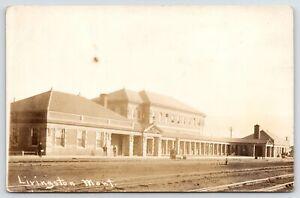 Livingston MT Northern Pacific Railroad Depot 1911 RPPC Fine~Danish or Norwegian