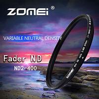 Zomei 58mm AGC Glass Fader ND2-400 Verstellbar Neutral Grau Filter Für Kamera