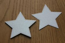 12 LARGE DIE CUT WHITE GLITTER STARS, WEDDING, CARDS, CRAFTS, TOPPERS