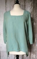 Click Top Size XL Linen Tunic Slip On Green Blue Color Me Cotton CMC Notched Hem