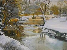 R A Smart  (Scottish) original watercolour - Winter Sun, Eglinton - framed