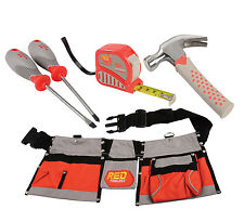 CP Toys Adjustable Tool Belt with Multiple Pockets and 4 pc.Real Tools Set