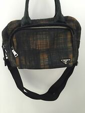 ***PRADA*** Printed canvas satchel bag with green croc top handles