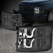 [LED U-HALO] FOR 2007-2014 CHEVY SILVERADO SMOKED CLEAR PROJECTOR HEADLIGHT SET