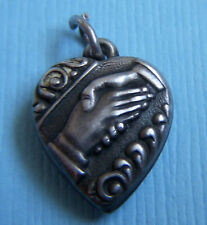 "Vintage handshake puffy heart ""Sue"" sterling charm"