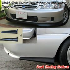 TR Style Front (PU) + Mu-gen Style Rear Bumper Aprons (PU) Fit 99-00 Civic 2dr