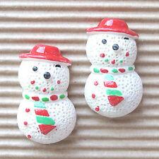 "US SELLER - 10 pcs x (1.25"") Resin Snowman w/Hat Flatback Beads for Cards SB445B"