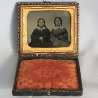 1/6 Plate Excellent TINTYPE Full Case TWO YOUNG LADIES Sisters