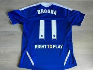 Didier Drogba Chelsea FC Brand New Men's Home Blue Retro Soccer Jersey S To XXL