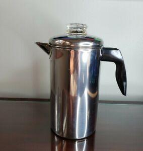 Vintage Farberware Stove Top Percolator Coffee Pot 8 Cup Stainless Steel Japan