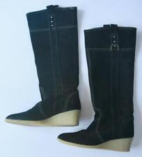 Rafe Black Suede Leather Wedge Boots 8.5 38.5 Knee High Western