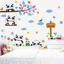 Swing Panda Sweet Home Owl Birds Tree Wall Sticker Kids Room Nursery Decor Decal