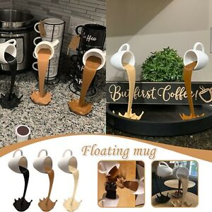 Floating Coffee Cup Mug Sculpture Kitchen Decor Pouring Spilling Decoration