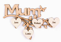 Wooden MDF Mum Branch with Personalised Hearts Engraved Mother's Day Gift Frame