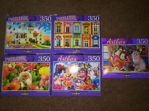 Lot of 5 New 350 Piece Jigsaw Puzzle Animals~Landscapes~Flowers~Nature