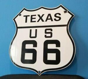 VINTAGE US ROUTE 66 PORCELAIN GASOLINE HIGHWAY TEXAS ROAD SHIELD DOT SIGN