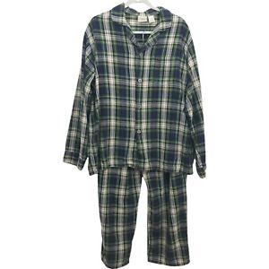 LL Bean Mens Large Flannel Pajama Set 100% Cotton Tartan Blue Plaid