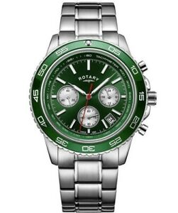 Rotary Mens Green Dial Chronograph Bracelet Watch Gents GB03067/24