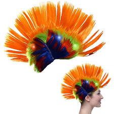 Dazzling Toys Blinking LED Orange Mohawk Wig Unisex Halloween Fancy Punk Costume