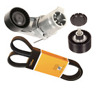 Drive Belt Kit With Tensioner Assembly Idler Pulley For Select Bmw F30 F10