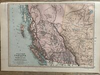 1891 WEST CANADA BRITISH COLOMBIA, ALBERTA COLOUR MAP BY W.G. BLACKIE