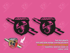 FIAT 500 ABARTH 595 695 TURISMO COMPETIZIONE PINK SIDE BADGE STICKERS
