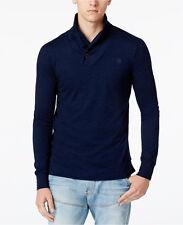 NWT G-Star Raw Men's Ezra Indigo Shawl-Collar Long-Sleeve T-Shirt Size XXL