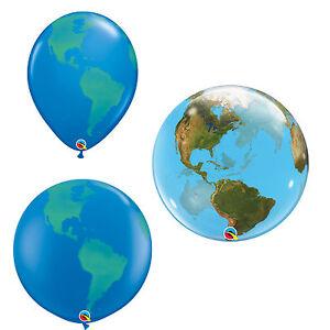 Qualatex PLANET EARTH Globe Latex & Bubble Balloons (Helium/Air) -Party Balloons