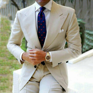 Beige Men Suits for Wedding Suit Wide Peaked Lapel Formal Groom Wear Groomsmen