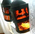 2 Antique 1920-30s John Virden Copper Round Orange Glass Hanging Lamp Light Rare