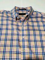 Mens Allen Edmonds Sz XXL Cotton Wrinkle Free Single Needle Check Shirt Oxford