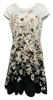 Isaac Mizrahi Live! Floral Print Fit & Flare Dress (Black/White, 14) A352284