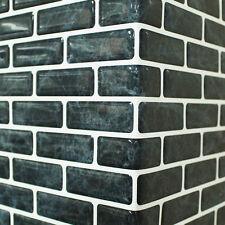 Self Adhesive Wall Tiles Peel And Stick Backsplash Kitchen Black Wallpaper 4pc