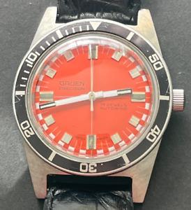 Vintage Gruen Precision Men's Dive Watch Automatic Ticks Silver Orange Dial 36mm