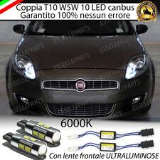 COPPIA LUCI DI POSIZIONE A 10 LED FIAT BRAVO T10 W5W CANBUS NUOVO MODELLO 400 LM