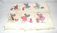 6 Vintage Girl & Cat Embroidered Days of the Week Flour Sack Dish Towels 34 X 32