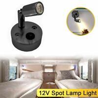 12V Light LED Boat Bed White Spot Wall Black Reading Lightn Caravan Interior