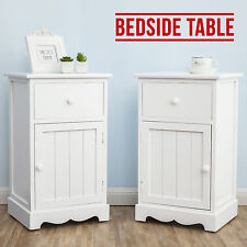 Pair of White Bedside Tables Storage Cabinet with Drawers & Groove Doors