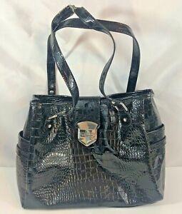 Liz Claiborne Black Faux Leather Faux Croc/Alligator Purse Organizer Handbag