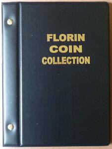VST AUSTRALIAN 2/- COIN ALBUM FLORIN 1910 to 1963 with MINTAGES - BLACK Colour