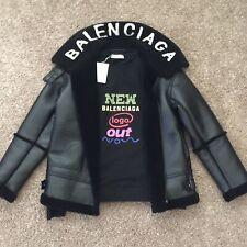 Balenciaga12 Style Faux Leather Coat Size S Winter Jacket High Fashion Runway