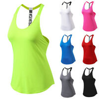 Women Tank Tops Gym Yoga Sports Fitness Athlete Sleeveless Vest Jogging Workout