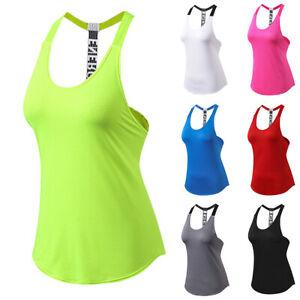 Ladies Sleeveless Gym Sports Yoga Tank Top Slim Fitness Workout Shirt Vest