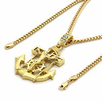 "Mens 14k Gold Plated Jesus Anchor Pendant With 30"" inches Cuban Necklace Chain"