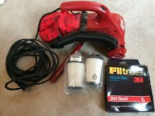 DIRT DEVIL PORTABLE VACUUM 08230C RED NICE USED WITH ATTACHMENTS & FILTERS