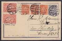 DR P 146 Ganzsache ZuF 174, 189 3er Str., Lübeck - Hamburg 1922, GA Infla