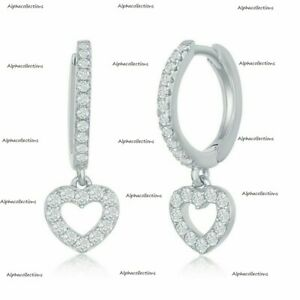 1.55 Ct Round Cut Diamond Heart Small Huggie Hoop Earrings 14k White Gold Over