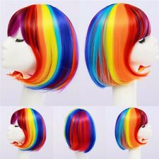Women's Sexy Full Bangs Wig Short Wig Straight BOB Hair Cosplay Rainbow color